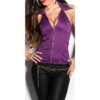 SEXY HALTERNECK TOP WITH LACE AND SKULLS PURPLE