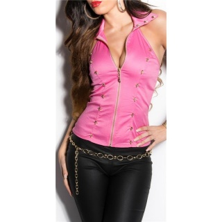 SEXY HALTERNECK TOP WITH LACE AND SKULLS FUCHSIA