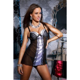 SEXY NEGLIGEE WITH THONG LACE SATIN LINGERIE BLACK/GREY