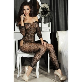 SEXY CROTCHLESS MESH BODYSTOCKING CATSUIT DESSOUS GOGO BLACK