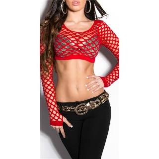 SEXY BELLY SHIRT FISHNET GOGO CLUBWEAR RED