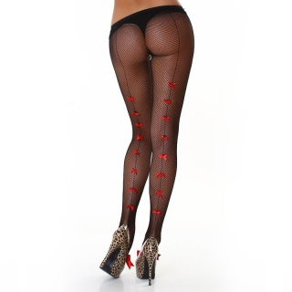 SEXY NYLON FISHNET PANTYHOSE WITH SATIN BOWS BLACK/RED