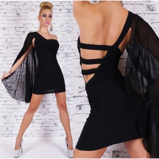 ELEGANT ONE-SHOULDER EVENING DRESS WITH CHIFFON SLEEVE BLACK