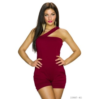 SEXY ONE-SHOULDER HOTPANTS OVERALL KURZ CLUBWEAR BORDEAUX