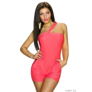 SEXY ONE-SHOULDER HOTPANTS OVERALL JUMPSUIT CLUBBING CORAL