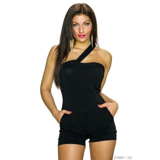 SEXY ONE-SHOULDER HOTPANTS OVERALL JUMPSUIT CLUBBING BLACK