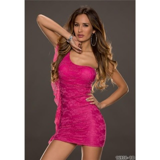 SEXY ONE-SHOULDER LACE MINIDRESS EVENING DRESS WITH FLOUNCE FUCHSIA