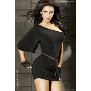 SEXY ONE-SHOULDER MINIKLEID GOGO CLUBWEAR SCHWARZ