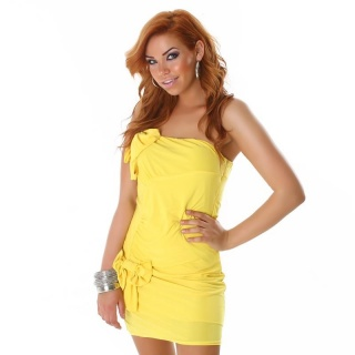 SEXY ONE-SHOULDER MINIDRESS WITH LOOPS YELLOW