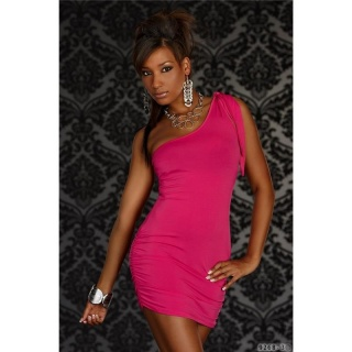 SEXY ONE-SHOULDER MINIDRESS FUCHSIA