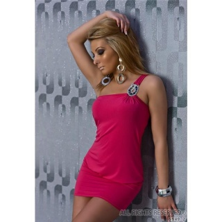 SEXY ONE-SHOULDER MINIKLEID MIT GLAM-SPANGE PINK