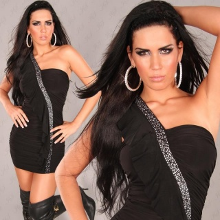 SEXY ONE-SHOULDER MINIDRESS WITH RIVETS RHINESTONES BLACK