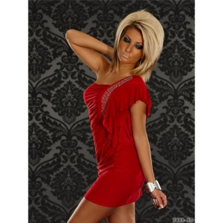 SEXY ONE-SHOULDER MINIKLEID MIT STRASS ROT