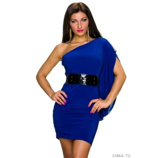 SEXY ONE-SHOULDER MINI DRESS WITH FLOUNCE SLEEVE INCL. BELT ROYAL BLUE