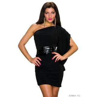 SEXY ONE-SHOULDER MINI DRESS WITH FLOUNCE SLEEVE INCL. BELT BLACK