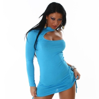 SEXY ONE-SHOULDER MINIDRESS TURQUOiSE