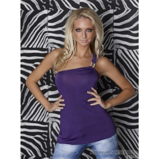 SEXY ONE-SHOULDER TOP WITH GLAM-BUCKLE RHINESTONES PURPLE