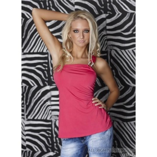 SEXY ONE-SHOULDER TOP WITH GLAM BUCKLE RHINESTONES FUCHSIA