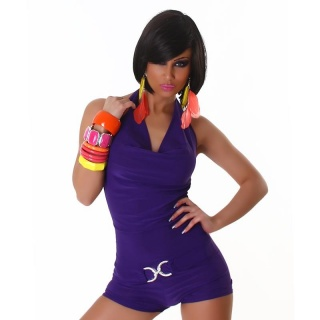 SEXY SHORT OVERALL JUMPSUIT CLUBBING PURPLE
