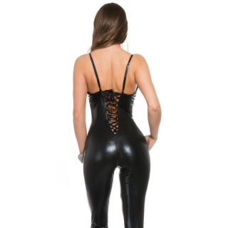 SEXY OVERALL WITH LACING CATSUIT WET LOOK CLUBWEAR PARTY BLACK