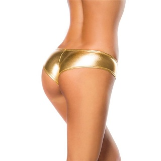 SEXY PANTY HOTPANTS IN METALLIC-LOOK CLUBWEAR GOGO GOLD