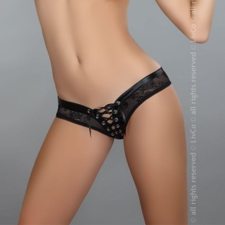 SEXY PANTY SLIP WITH SATIN-LACING LINGERIE BLACK