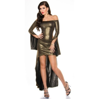 SEXY PARTY COCKTAIL DRESS WITH GLITTER EFFECT CLUBWEAR GOLD