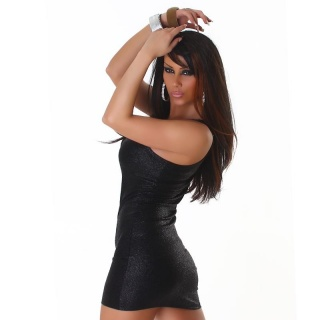 SEXY PARTY DRESS MINIDRESS REPTILE-LOOK CLUBWEAR BLACK
