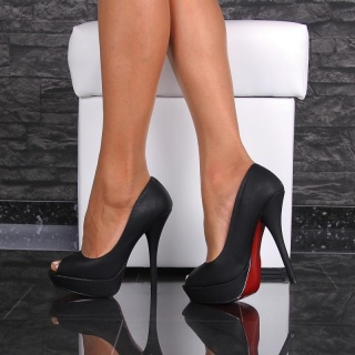 SEXY PEEP TOE HIGH HEELS IMITATION LEATHER WITH RED SOLE BLACK