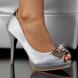 SEXY PEEP TOES HIGH HEELS PUMPS PLATFORMS SATIN SILVER