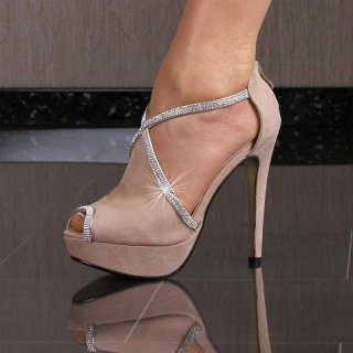 SEXY PEEP-TOES PLATEAU-SCHUHE HIGH HEELS MIT STRASS KHAKI