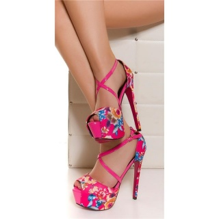 SEXY PEEP TOE PLATFORM SANDALS HIGH HEELS WITH FLOWER DESIGN FUCHSIA
