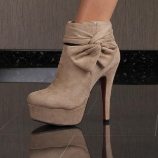 SEXY PLATFORM BOOTS HIGH HEELS SHOES VELOUR KHAKI