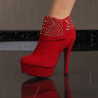 SEXY PLATFORM ANKLE BOOTS HIGH HEELS SHOES VELOUR WITH RIVETS RED