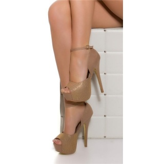 SEXY PLATFORM HIGH HEELS PEEP TOE SHOES MADE OF VELOUR KHAKI