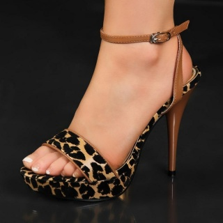 SEXY SANDALS HIGH HEELS PLATFORMS LEOPARD-LOOK BROWN