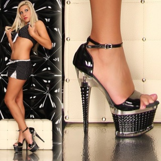 SEXY PLATFORMS HIGH HEELS GOGO BLACK