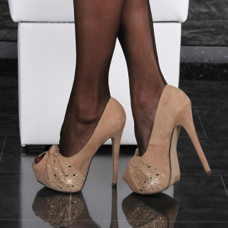 SEXY VELOUR PLATFORM SHOES PEEP TOES HIGH HEELS KHAKI