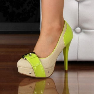 SEXY PUMPS HIGH HEELS PLATFORM SHOES GREEN