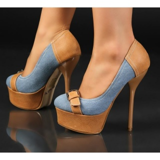 SEXY PUMPS HIGH HEELS PLATFORM SHOES LIGHT BLUE