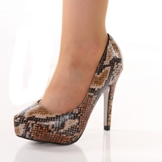 SEXY PLATFORM PUMPS HIGH HEELS SNAKE-LOOK BEIGE