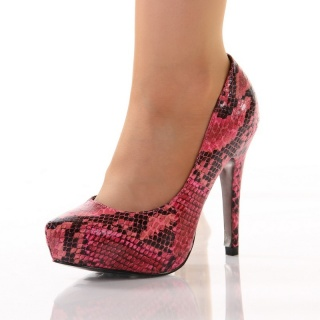 SEXY PLATFORM PUMPS HIGH HEELS SNAKE-LOOK RED