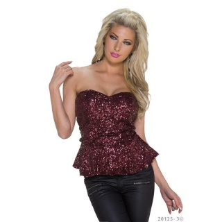 SEXY REDIAL GLAMOUR BANDEAU TOP WITH SEQUINS WINE-RED