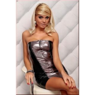 SEXY REDIAL MINIDRESS WITH RHINESTONES WET LOOK BLACK/BRONZE