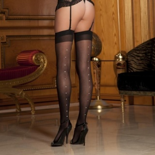 SEXY RENE ROFE SHEER THIGH-HIGH STOCKINGS WITH RHINESTONES BLACK