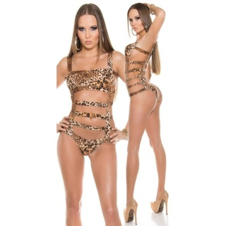SEXY MONOKINI WITH STRAPS BEACHWEAR BRAZIL-CUT LEOPARD-BROWN