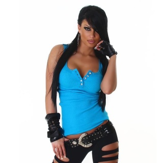 SEXY TANKTOP WITH RHINESTONES TURQUOISE