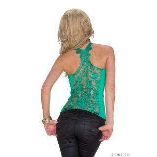 SEXY RIB-KNITTED STRAPPY TOP WITH LACE AT THE BACK GREEN