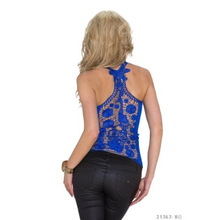SEXY RIB-KNITTED STRAPPY TOP WITH LACE AT THE BACK ROYAL BLUE
