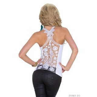 SEXY RIB-KNITTED STRAPPY TOP WITH LACE AT THE BACK WHITE